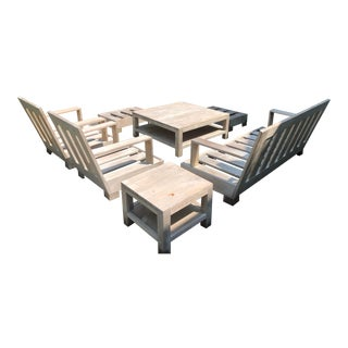 Sutherland Reeded Teak Outdoor Living Room Set For Sale