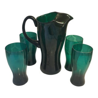 Contemporary Emerald Green Glass Pitcher and Glasses Set - 5 Pieces