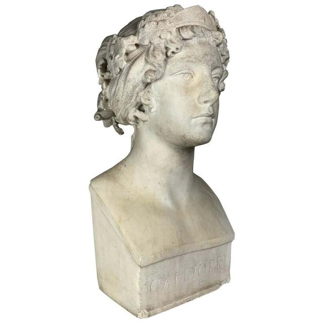 Stone 19th Century After the Greek Archaic Carved White Marble Bust of Calliope For Sale - Image 7 of 7