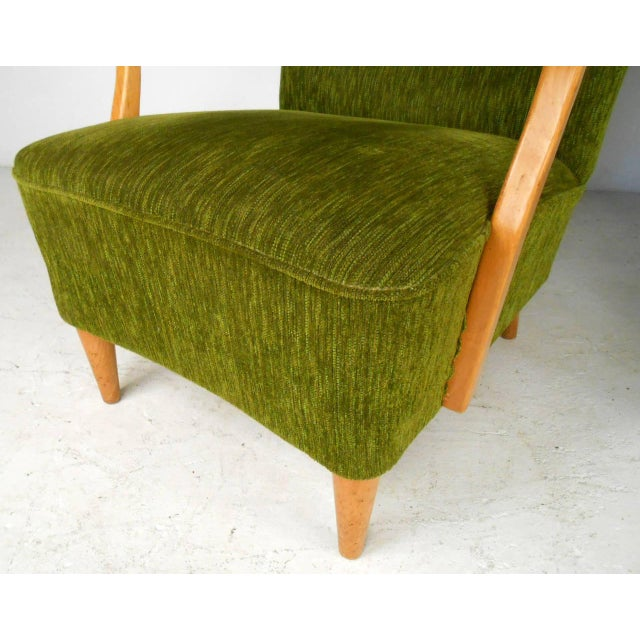 Textile Mid-Century Modern High Back Lounge Chairs - A Pair For Sale - Image 7 of 11