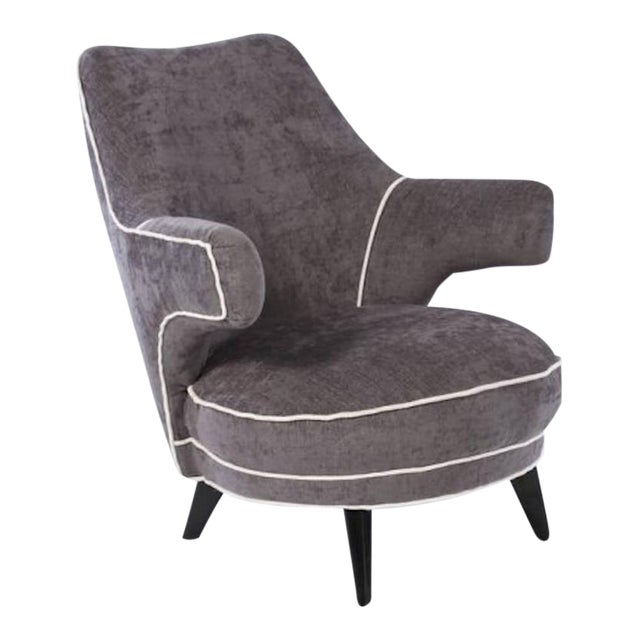 Mid Century Boudoir Chair with Floating Arms For Sale