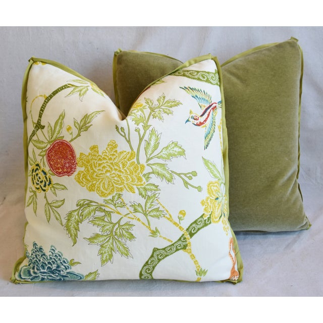 """Schumacher Arbre Chinois Meadow Chinoiserie Linen & Scalamandre Mohiar Pillows 21"""" Square - Pair For Sale - Image 11 of 13"""