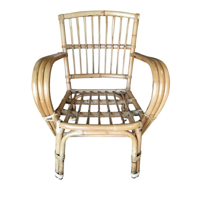 3-Strand Bentwood Rattan Armchair With Stick Rattan Back For Sale