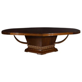 Art Deco Book Matched Mahogany Dining Table With 24-Karat Gilt Acanthus Details For Sale