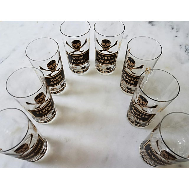 """Georges Briard """"Name Your Poison Glasses"""" Skull and Crossbones Glasses - Set of 8 For Sale - Image 12 of 13"""