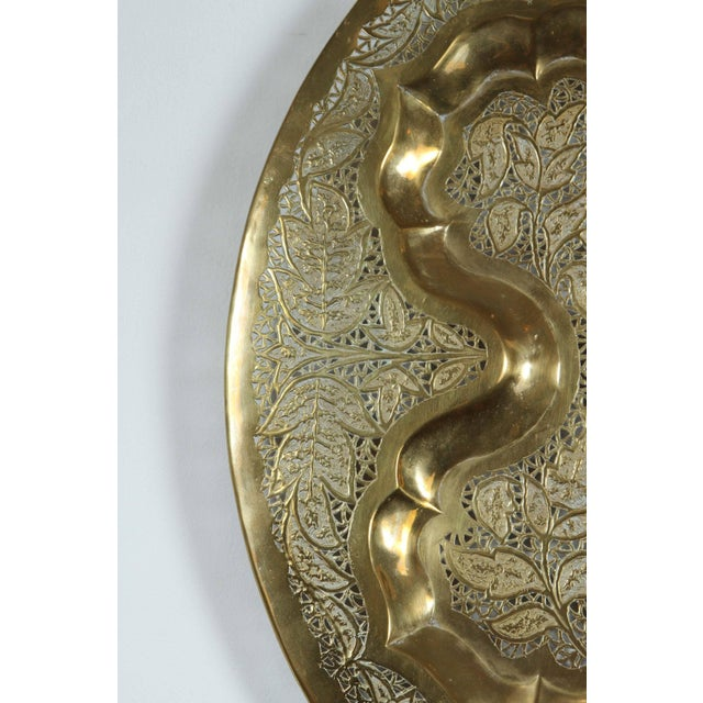 Asian Mid Century Anglo Raj Hanging Hammered Polished Brass Tray For Sale - Image 3 of 8