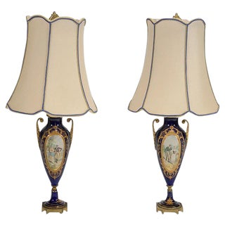 Pair of Sèvres Style Porcelain Urns Mounted Lamps For Sale