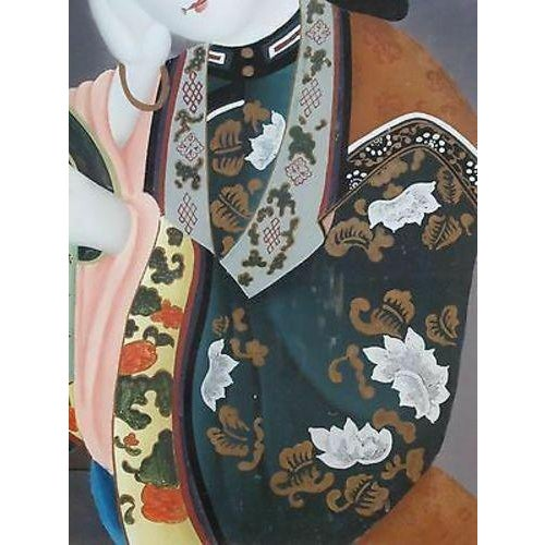 Portraiture Mid 20th Century Asian Glass Reverse Painting of Geisha For Sale - Image 3 of 6