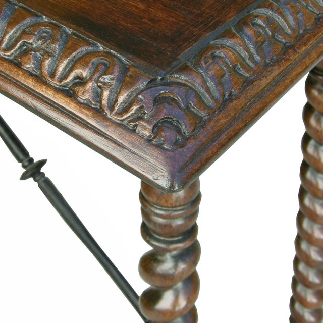 Italian Carved Italian Walnut & Wrought Iron Sorrento Side Table by Randy Esada For Sale - Image 3 of 5