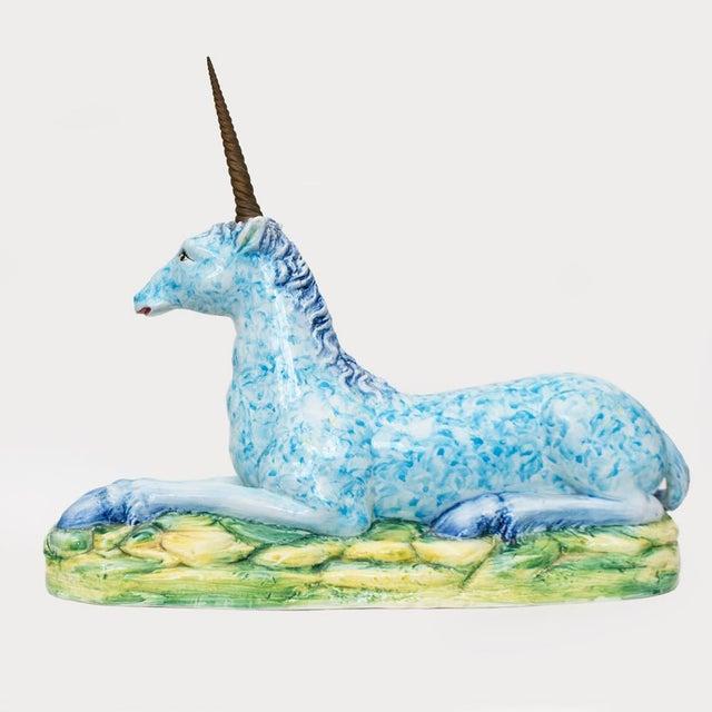 Vintage Italian Mottahedeh Ceramic & Brass Unicorn Sculpture For Sale - Image 11 of 13
