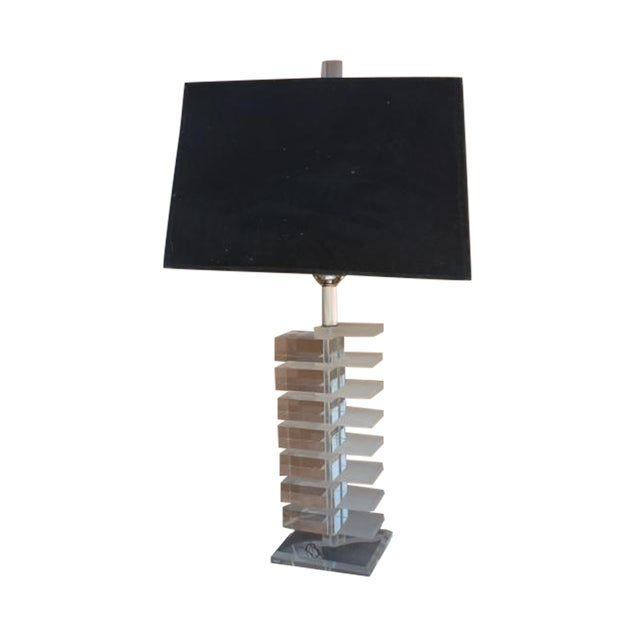 Vintage Clear & Frozen Stacked Lucite Table Lamp - Image 1 of 6