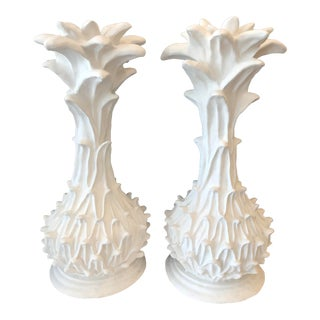 Mid-Century White Plaster Decorative Palms in the Manner of Serge Roche - A Pair For Sale