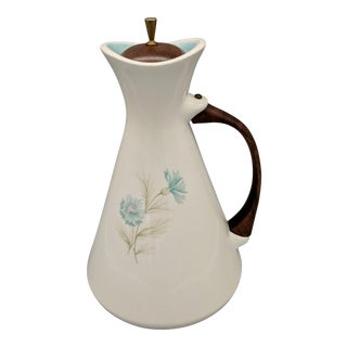 "Mid-Century Taylor Smith & Taylor ""Boutonniere"" Cream With Turquoise Interior Pitcher/ Carafe"