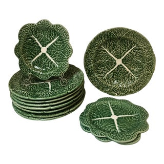 S/8 Vintage Portuguese Majolica Cabbage Leaf Salad Plates and 3 Bread/Appetizer Plates For Sale