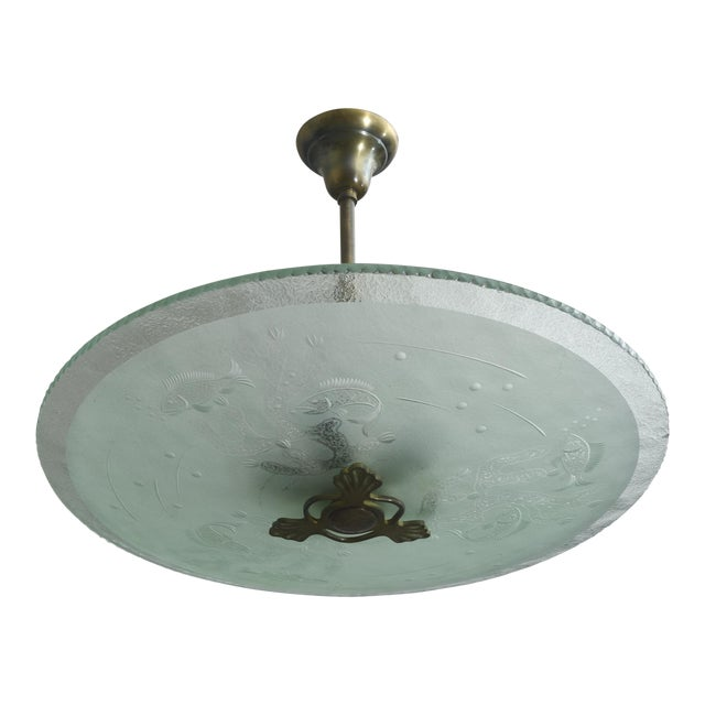 Swedish Modern Frosted and Etched Glass Chandelier, Orrefors For Sale