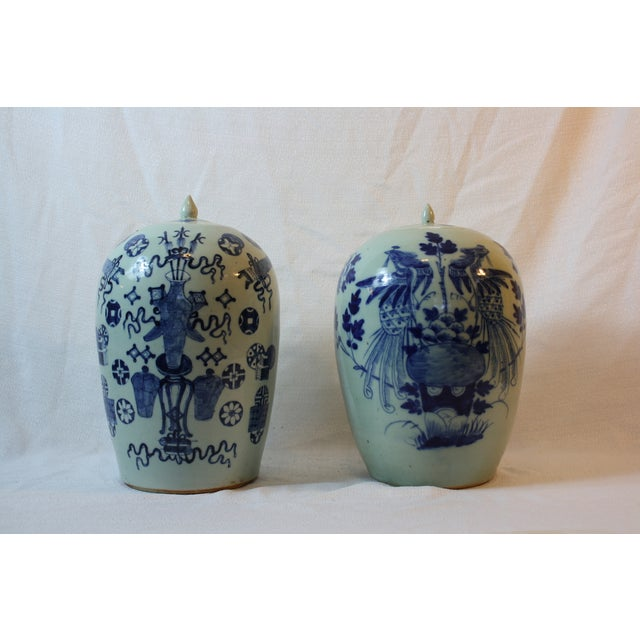 Antique Porcelain Covered Jar - Pair - Image 2 of 5