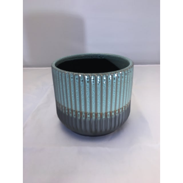 Ceramic Palma Blue Ceramic Flower Pot For Sale - Image 7 of 7