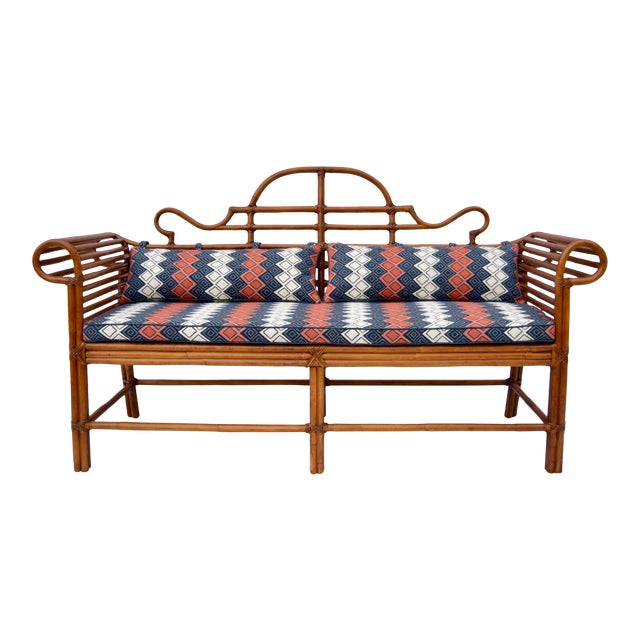 Lane Furniture Bamboo Caned Rattan Chinoiserie Sofa For Sale