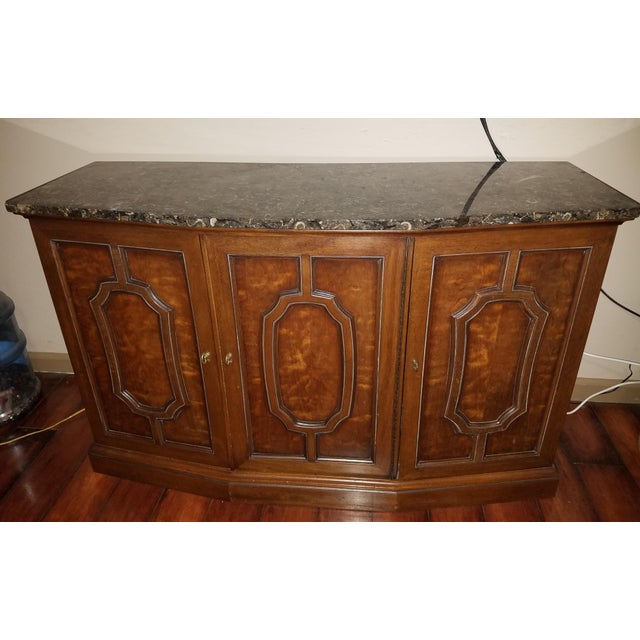 Henredon Sideboard Console Silver Cabinet W/Granite Stone Top - Image 3 of 8