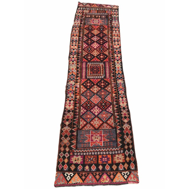 """Hand Made Vintage Turkish Runner- 2'10""""x11'2"""" For Sale - Image 9 of 9"""