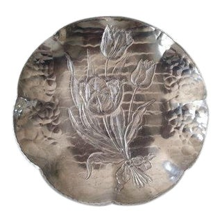 Vintage Krischer Tulip Embossed Aluminum Trinket/Serving Dish