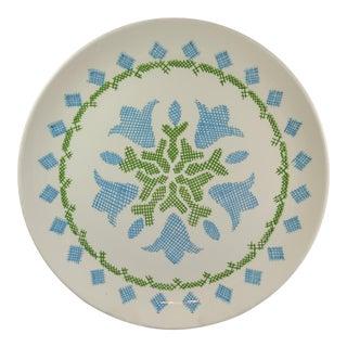 1970s Vintage Tulip Cross Stitch Serving Platter For Sale