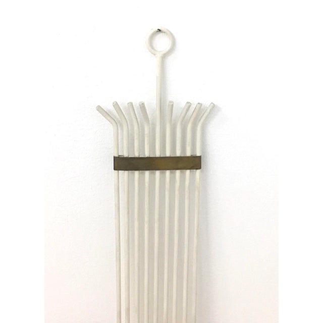 Tommi Parzinger Mid-Century Modern White Painted Wrought Iron & Brass Wall Candelabra For Sale - Image 4 of 5
