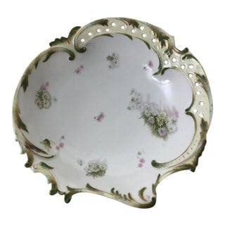 Antique Savoy German Hand Painted Flower Dish For Sale