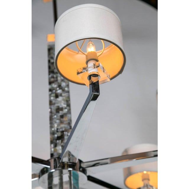 Mother of Pearl Micro Mosaic Decorated Chandelier For Sale - Image 5 of 8
