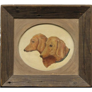 Pair of Dachshunds Oil on Canvas For Sale