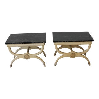Vintage Neoclassical Style Side Tables With Marble Tops - a Pair For Sale