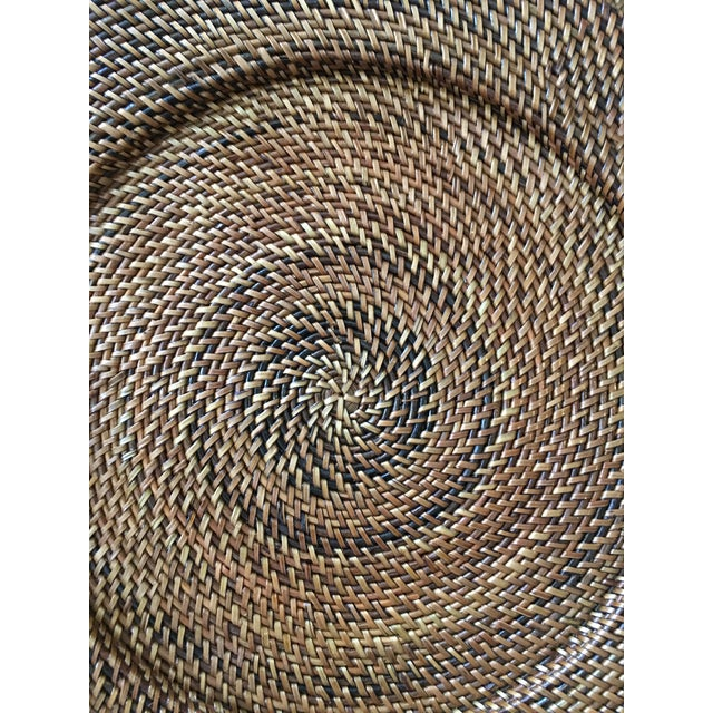 Woven Rattan Round Trays, A Pair For Sale - Image 4 of 4