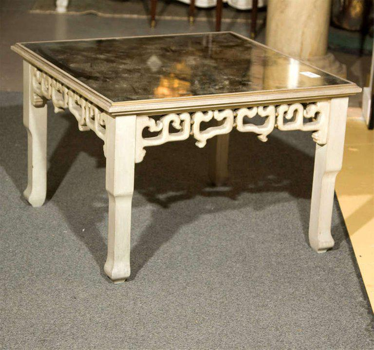 Distressed Mirror Glass Top Squared Asian Style End Tables Stamped