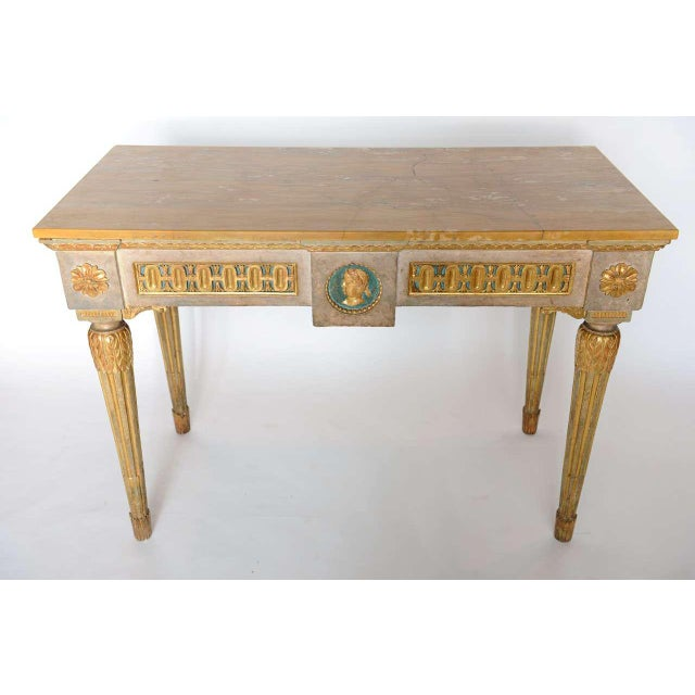 Italian Fine Italian Neoclassic Painted and Parcel-Gilt Console, Roman Late 18th Century For Sale - Image 3 of 11