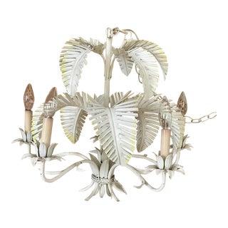 1970s Vintage Regency White Palm Leaf Chandelier For Sale