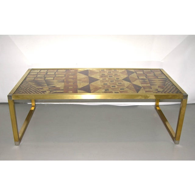 Metal 1970s Italian Art Deco Abstract Design Brass Coffee Table With Gold Leaf For Sale - Image 7 of 8