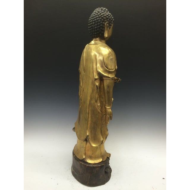Chinese Art Gold Gilt Bronze Standing Kwan Yin Sculpture - Image 10 of 10