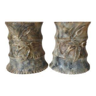 Antique Chinese Carved Jade Bookends-Bamboo Design