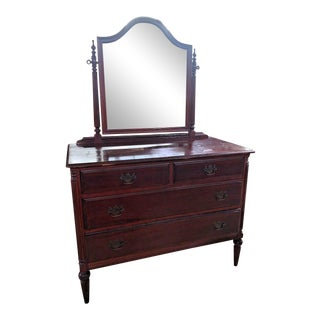 Antique Mahogany Bedroom Dresser With Mirror For Sale