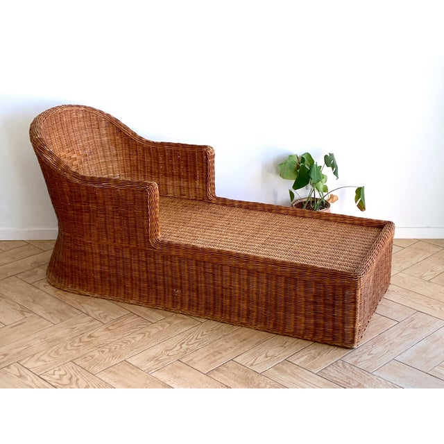 1990s Vintage Wicker Chaise For Sale - Image 11 of 11