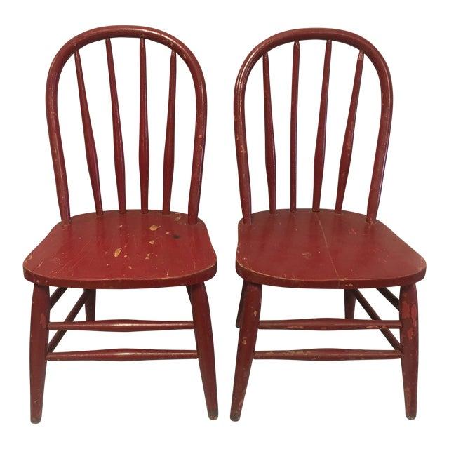 Antique Children's Red Chairs- a Pair - Antique Children's Red Chairs- A Pair Chairish