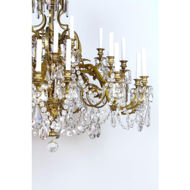 Belle Epoque French Gilt Bronze and Crystal 36 Light Chandelier For Sale - Image 3 of 9