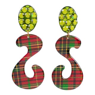 Oversized Dangling Glitter Lucite Clip Earrings Red Green Plaid For Sale