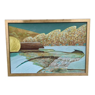 Abstract Oil Painting Frozen River Signed For Sale