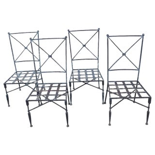 1940s Vintage Forged Iron Neoclassical Chairs- Set of 4 For Sale