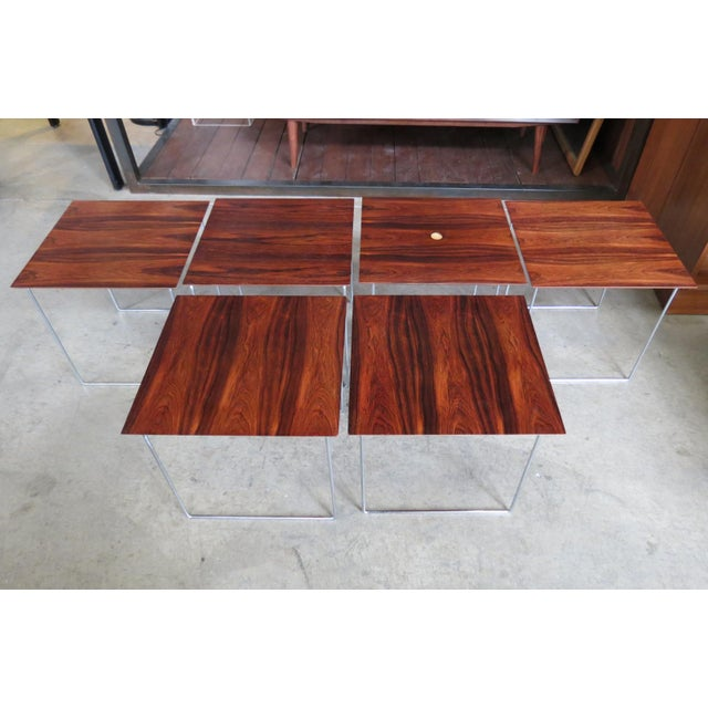 Brown 1960s Mid Century Modern Rare Rosewood Nesting Table Set For Sale - Image 8 of 11