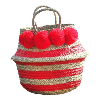 "Brunna ""Stripes Tribes Classic"" Pom-pom Beach Straw Basket Bag, in Red"
