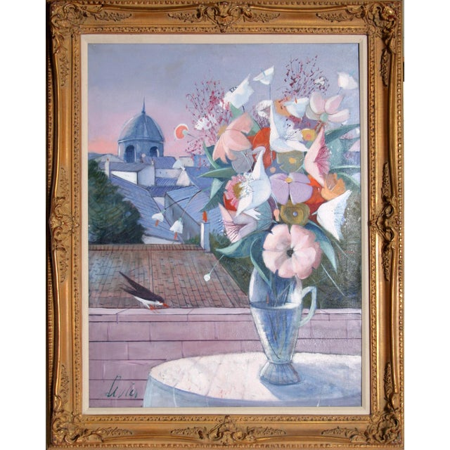 Modern Charles Levier, Fleurs, Oil on Canvas, Signed l.l. For Sale - Image 3 of 3