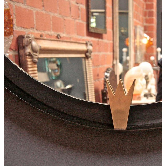 Iron and Brass Moderne Mirror For Sale - Image 4 of 6