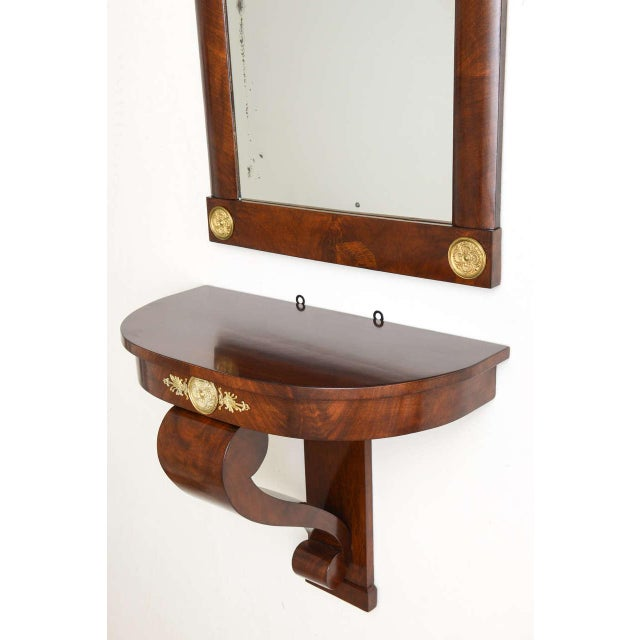 Early 19th Century 19th Century Austrian, Biedermeier Wall-Hung Demi lune Console with Mirror For Sale - Image 5 of 11